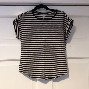 OLD NAVY Black/Oatmeal Striped Roll Sleeve Tee S